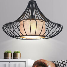 Vintage Decken Hänge Lampe Wohn Zimmer Retro Stil Käfig Textil Pendel Leuchte
