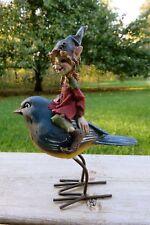 Boy Pixie Riding Bird Blue Hat Figurine 6.5 in.T New Resin Metal Legs Pixies