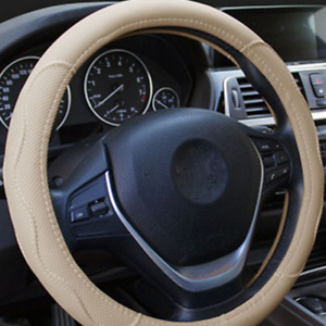 38cm 15inch Car Steering Wheel Cover Beige PU Leather Universal Car Accessories