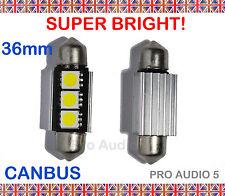 2x 36mm Blanco 3 Bombillas Led Smd Canbus-libre de errores, número de matrícula o interior 239