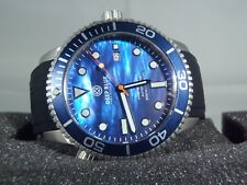NEW DEEP BLUE MASTER 1000 AUTOMATIC DIVER BLUE MOP DIAL SILICONE STRAP BAND