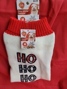 PET CENTRAL CHRISTMAS WINTER DOG SWEATER HO,HO,HO DOG SIZE MEDIUM - NEW