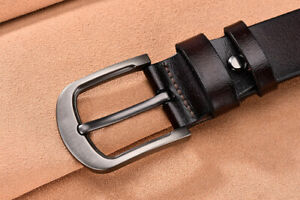 Mens Genuine Leather Belt Belts Casual with Pin Buckle Brown Black UK Stock