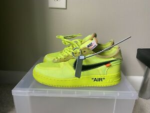 """100% Authentic Nike x OFF-WHITE Air Force One AF1 """"Volt"""" A04606-700 Size 9.5"""