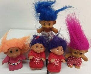 """Mixed 3"""" TROLL DOLLS RUSS / Unbranded & DAM 1985 Toys"""