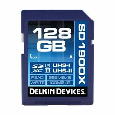 Fast 128GB 1900x-Speed SDXC 285MB/s UHS-II U3 Delkin Memory Card (100MB/s Write)