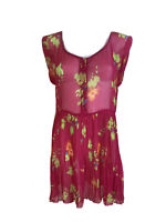Rusty Size 12  Pink & Green Button Up Scoop Neck Pleated Skirt Sheer Mini Dress