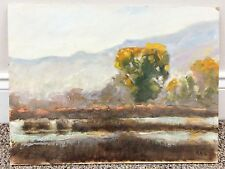 """Original Marty Ricks 2003 Fall Afternoon Oil on Board Painting 12""""x 16"""" Signed"""