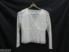 Rena Rowan Lace Top Woman XL Ivory Long Sleeve Stretch