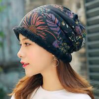 Women Ethnic Cotton Beanie Hat Vintage Good Elastic Warm Winter Turban Scarf Cap