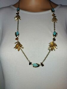 Women Necklace Unbranded Goldtone Aqua Blue Beads brown tigers eye color stones
