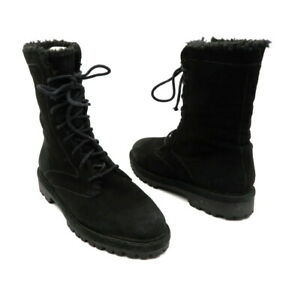 COLE HAAN Size 5.5 Black Lace Up Suede Fur Lined Boots