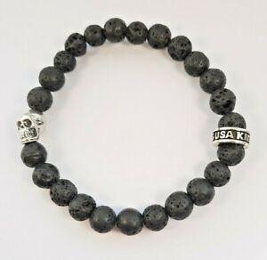 "King Baby Studio 925 Sterling Silver Black Lava Rock Bead Bracelet 8mm 7.5"""
