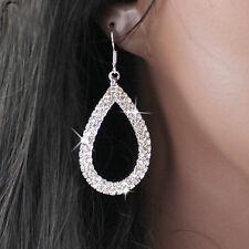 Long Drop Earrings Silver Diamante Crystal Rhinestone Dangle Hoop Hollow Party