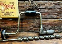"""Stanley No 923 12"""" Hand Brace Drill  With A New 1""""X18"""" Long Auger Bit  Excellent"""