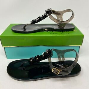 Kate Spade New York Womens Flat Sandals Black Floral Buckle Up Shoe 8