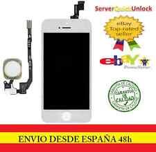 PANTALLA COMPLETA TACTIL LCD PARA IPHONE 5S BLANCA + FLEX BOTON HOME DORADO ORO