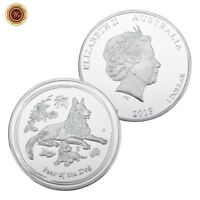 WR 2018 Australian Lunar Year of the Dog SILVER Coin Round Queen Elizabeth II $1