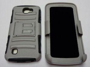 GRAY & BLACK Hybrid 3 in1 TPU Case For LG Optimus Zone 3 K4 Spree VS425/K3 LS450