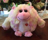 """TY Beanie Baby Monstaz Pink Lola Big Eyed Stuffed Animal w Sounds 7.5"""" tall"""