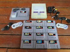 SNES Super Nintendo System + 13 Games Mario All Stars Paint World Kart Mouse Pad