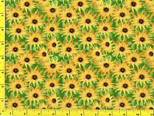 Yellow Sunflowers with Green Leaves By The Yard CFLGRE02480