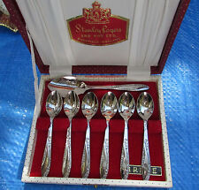 VINTAGE BOXED SET STANLEY ROGERS EPNS SILVER PLATE COFFEE SPOONS IRENE
