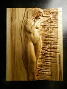 Wood carved picture wall decoration plaque. Nude sea girl. Perfect gift