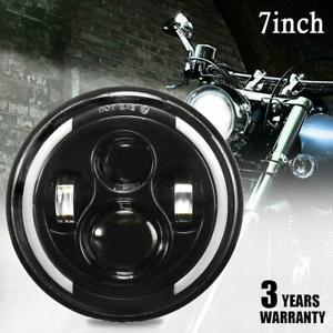 "7"" Motorcycle  Angel Eye LED Headlight for Harley Kenworth Chevy Toyota Ford"