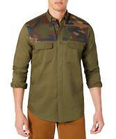 Club Room Mens Shirt Army Green Size XL Button Down Camo Patch Twill $55 013