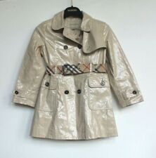 Burberry Girls Coated Beige Trench Coat Nova Check Lining Age 6