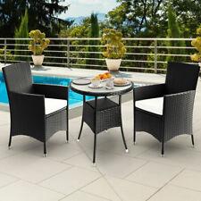 Set de 1 Mesa y 2 Sillas de Poliratán Muebles de jardín con cojínes color Negro