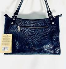 Patricia Nash Romina Navy/Pewter Tooled Leather Tote - P473202 Nwt