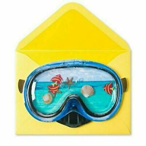 Cool Papyrus Birthday Card - Liquid-Filled Snorkel Goggles with Floating Fish