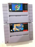 Nintendo SNES Authentic 2 Game lot! Super Mario World & Star Fox Tested WORKING!
