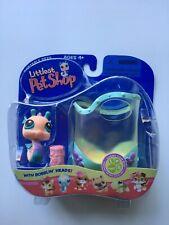 Littlest Pet Shop ~ Seahorse + Aquarium & Food ~ #142 NIB 2005 Hasbro + Stickers