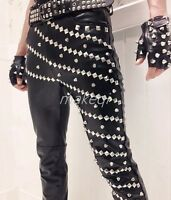 Mens Motor Punk Pants Trousers Slim Fit Pu Leather Costume Stage Rivet Pencil US