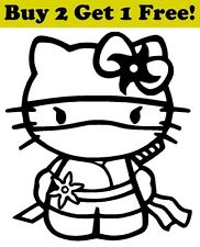 Hello Kitty Ninja Decal Sticker Car Bumper Window Wall Cute Cat Clear Mask