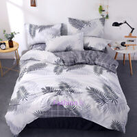 Grey Leaf Single/Double/Queen/King Size Bed Quilt/Doona/Duvet Cover Set Linen