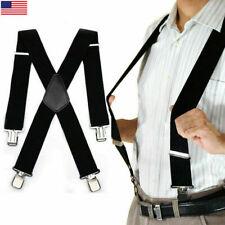 """US Mens Braces Suspenders Black 2"""" X Back Heavy Duty Biker Snowboard Trousers"""