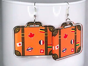 ACRYLIC SUITCASE EARRINGS kawaii retro holiday travel