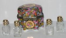 Porzellan Dose mit 4 Parfüm Flakons aus Glas, Nostalgie-Stil, bunte-Rosen, 6x5cm