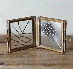 Nkuku TINY DANTA Folded DOUBLE Sided PHOTO FRAME Antique BRASS MINI 4.5x4.5cm