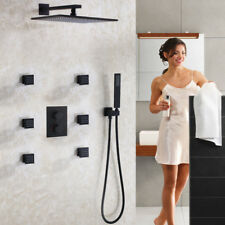 Thermostat Matte Frosted Black Bathroom Shower Faucet Set Bath Shower Mixer Head