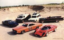 ICONIC CARS POSTER 24 X 36 INCH General Lee, Kit, Ghost busters, Bat Mobile