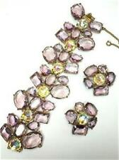 VERY RARE SCHIAPARELLI PINK CHAMPAGNE MORNING BRACELET & EARRING SET