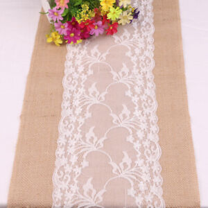 Rustic Burlap Hessian Table Runner Jute Lace Wedding Banquet Dinner Party Decor