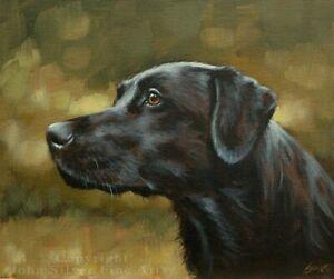 BLACK LABRADOR DOG PORTRAIT ORIGINAL PAINTING 10 x 12 by UK Artist JOHN SILVER