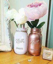 Peint rose pâle & Métallisé or Rose Bocaux Mason Set de 2