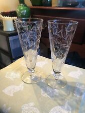 TWO Libbey Pilsner Beer Glasses Mid Century Gold White Royal Fern EUC